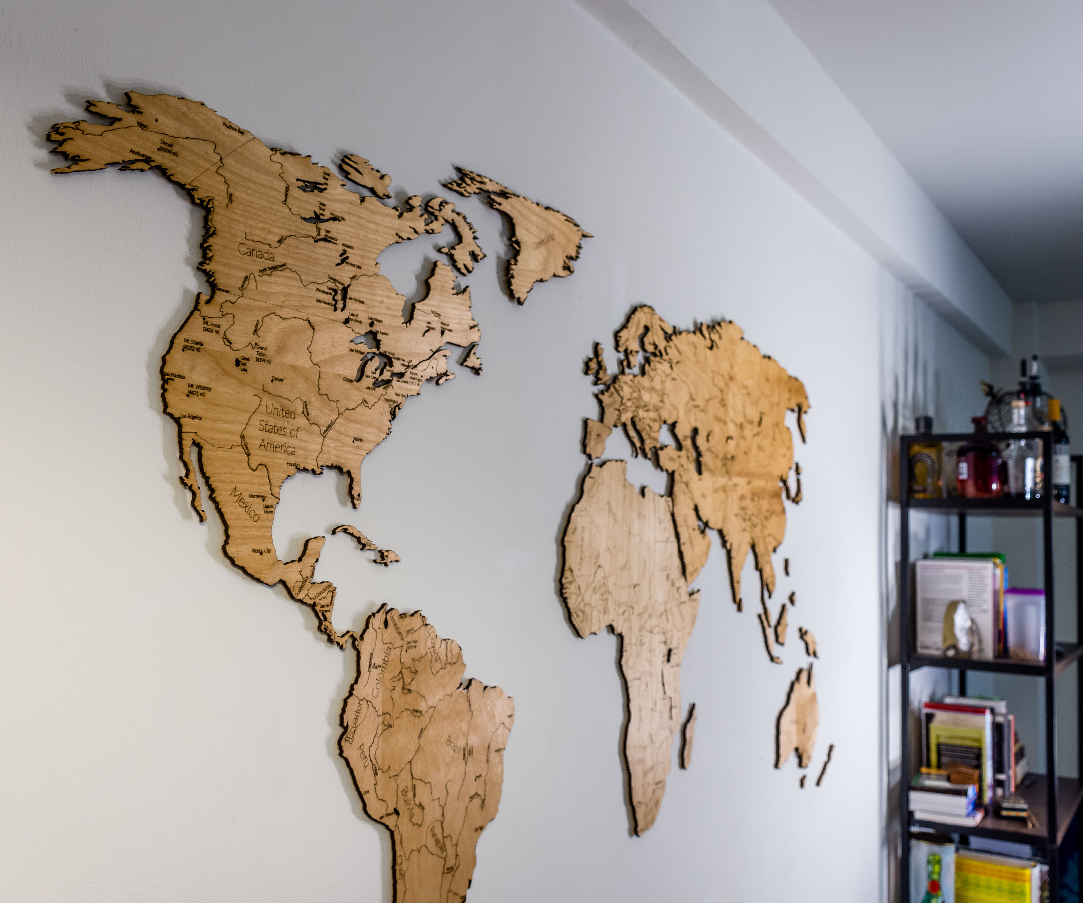 I Made a Large Wood Engraved Map of the World