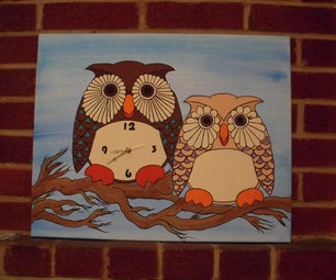 Paint Your Own Owl Couple Clock