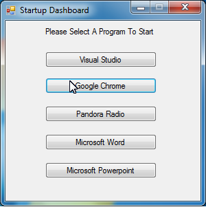 "Program A ""Startup Dashboard"""