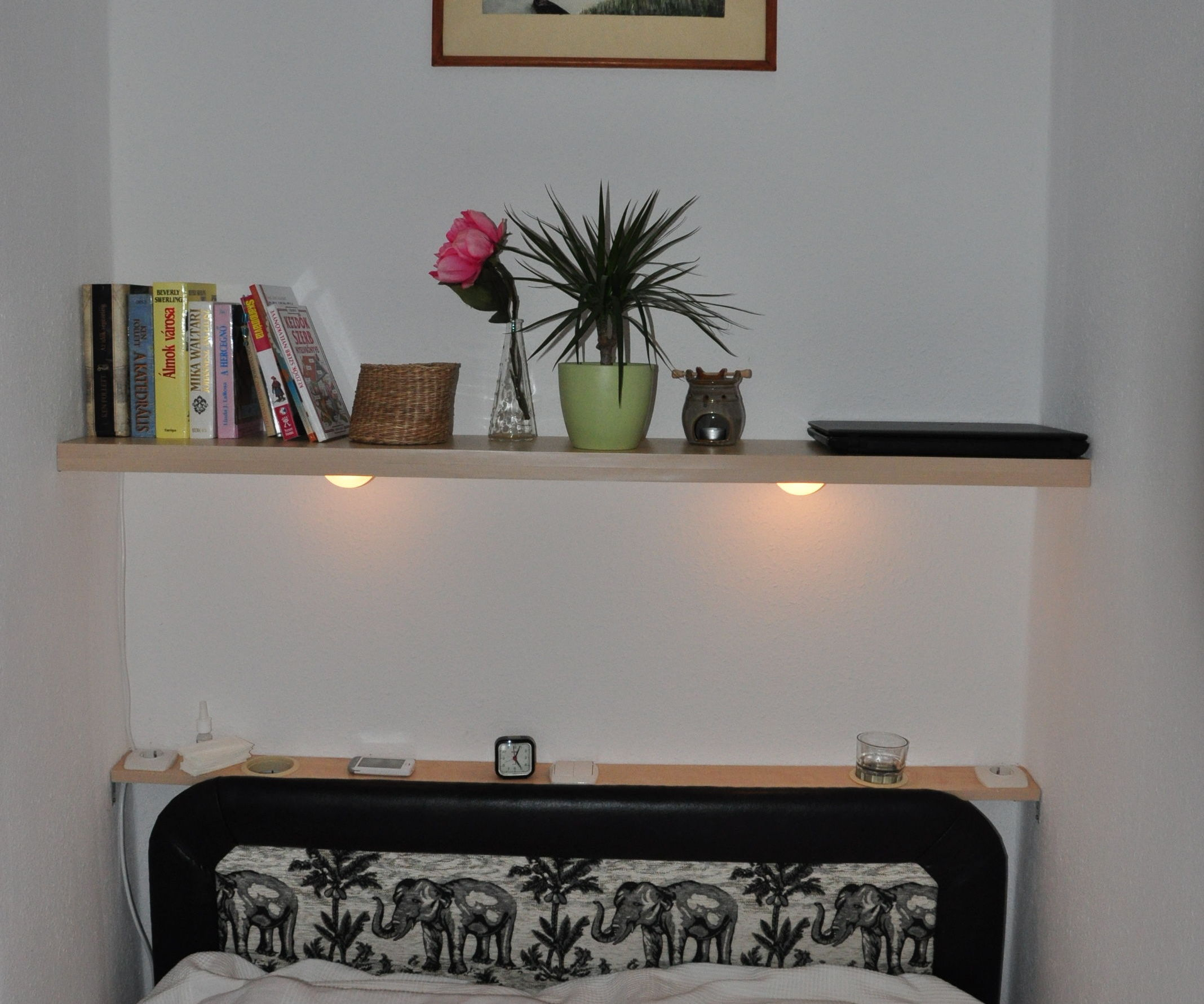 Floating shelf with lights, powesockets and glass holders