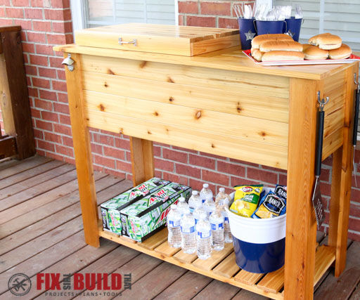Patio Cooler & Grill Cart Combo