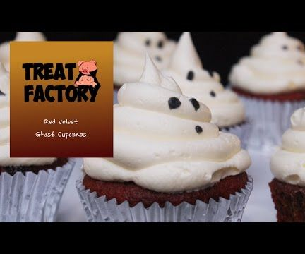 Red Velvet Halloween Ghost Cupcakes