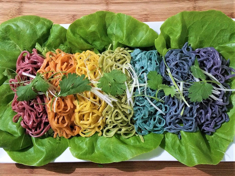 Plating Homemade Rainbow Pasta Salad