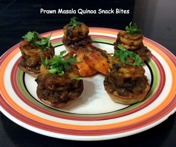Quinoa Snack Bites - Prawn Masala Quinoa Snack Bites AND Roasted Pepper Tahini Sauce Quinoa Pizza Bites