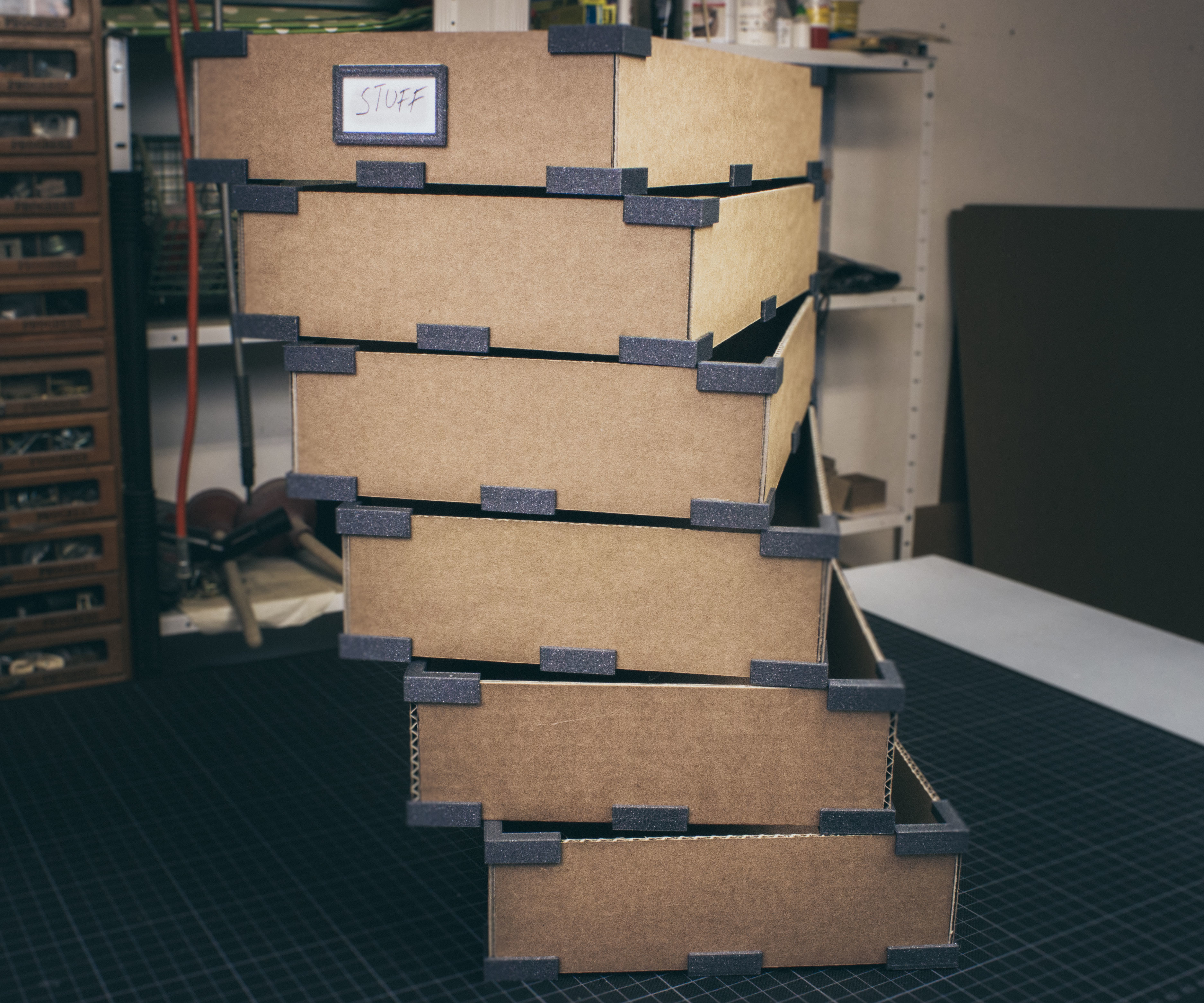 Storage Boxes Made Out of Cardboard and 3D Printed Parts