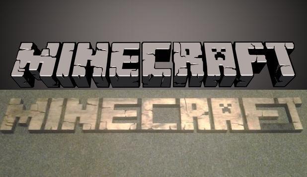 3D burned/carved wooden Minecraft logo