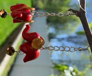 Dangling Clay Elephant Earrings