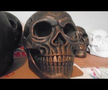 Dry Brush Technique - Concrete Skull Cast With Metallic Copper Effect