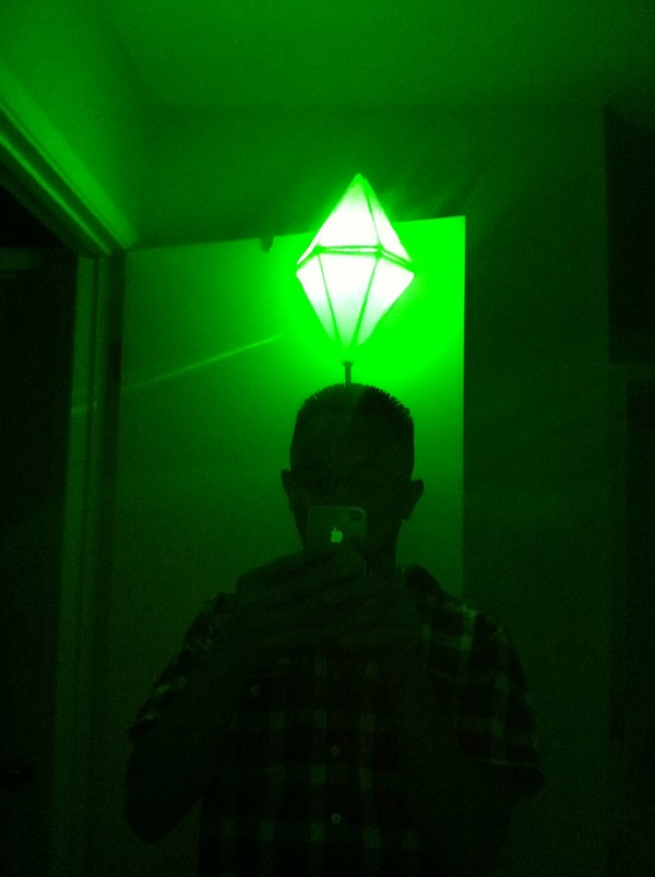 LED Light Up Sims PlumbBob Costume (That Green Pylon Above Their Head)