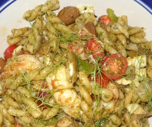 Penne Al Pesto With Shrimp, Crayfish & Fennel