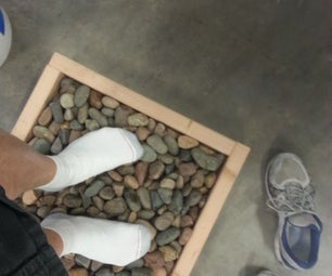 Acupressure Foot Massager Using River Rocks and 2x4s