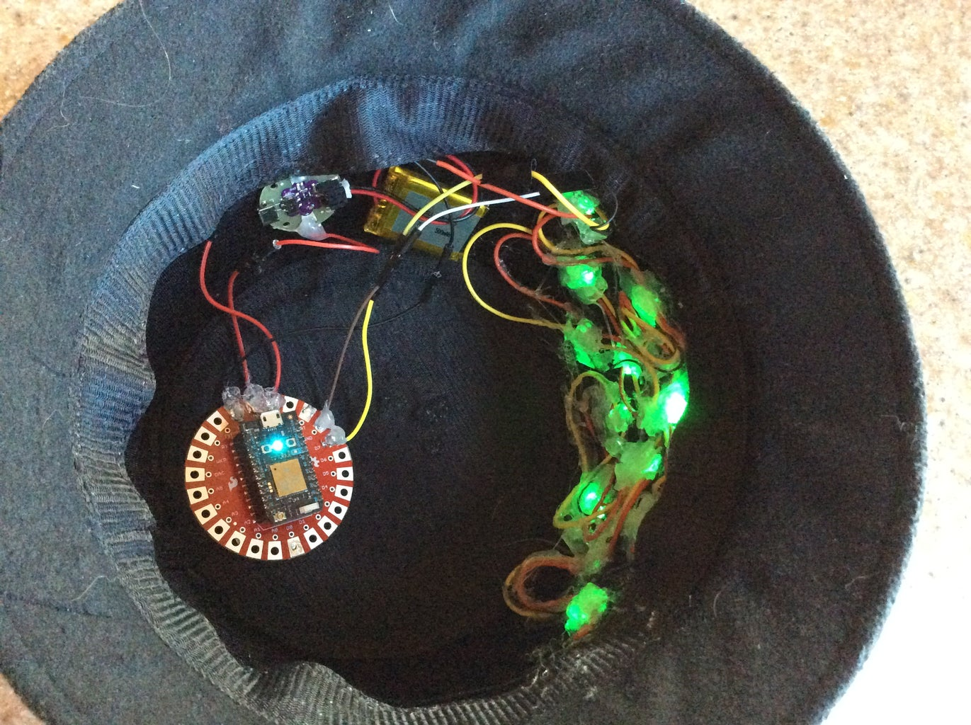 Glue the LEDs to the Inside of the Hat