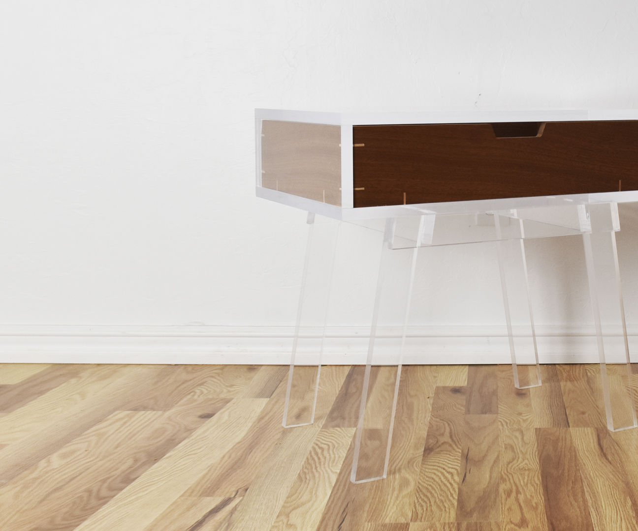 Acrylic Side Table W/ Floating Mahogany Drawer