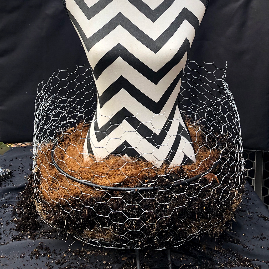 Place the Dress Form in the Middle of the Skirt Frame and Fill in With More Soil
