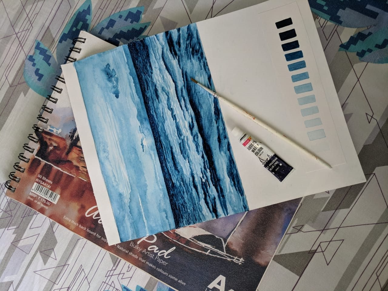 WATER COLOUR PAINTING WITH SINGLE COLOUR
