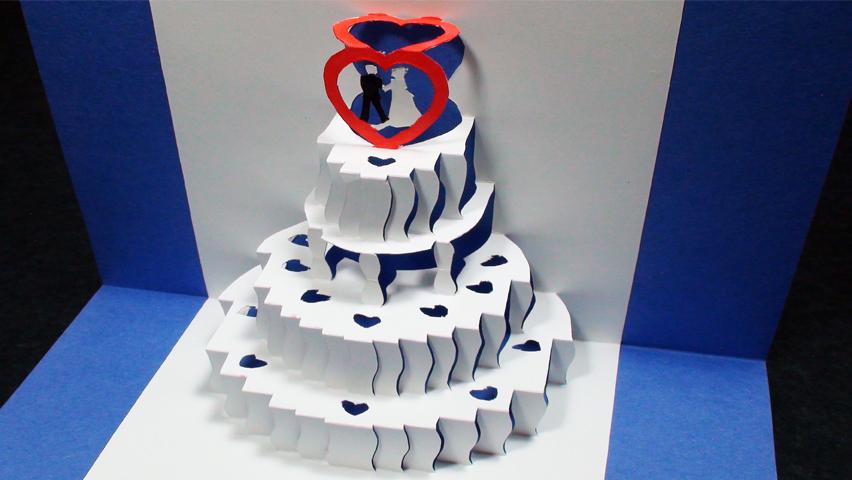 How to make a Wedding Cake Pop Up Card Kirigami 3D Wedding Greeting Card - TCGames HD!