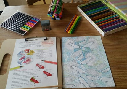 Creatively Colouring Fishes Using Large Art Therapy Markers in a Water Background Part 2