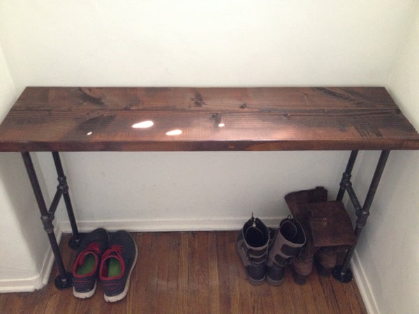 Easy Modern Black Iron Pipe Bench / Entryway Table