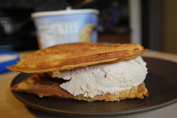 Pumpkin Waffle Ice Cream Sandwiches