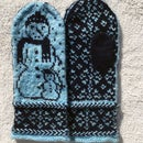 Snowman Mittens With Braids