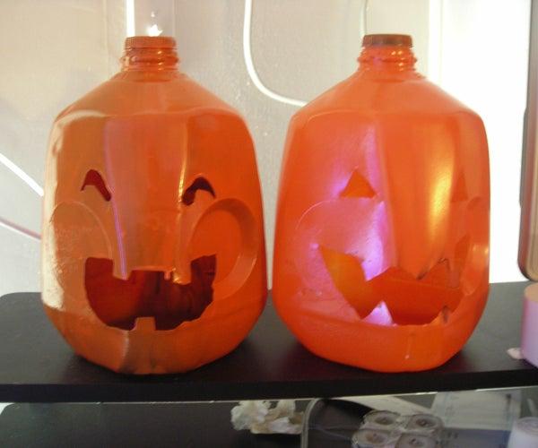 Milk Jug Jack-o-Lanterns