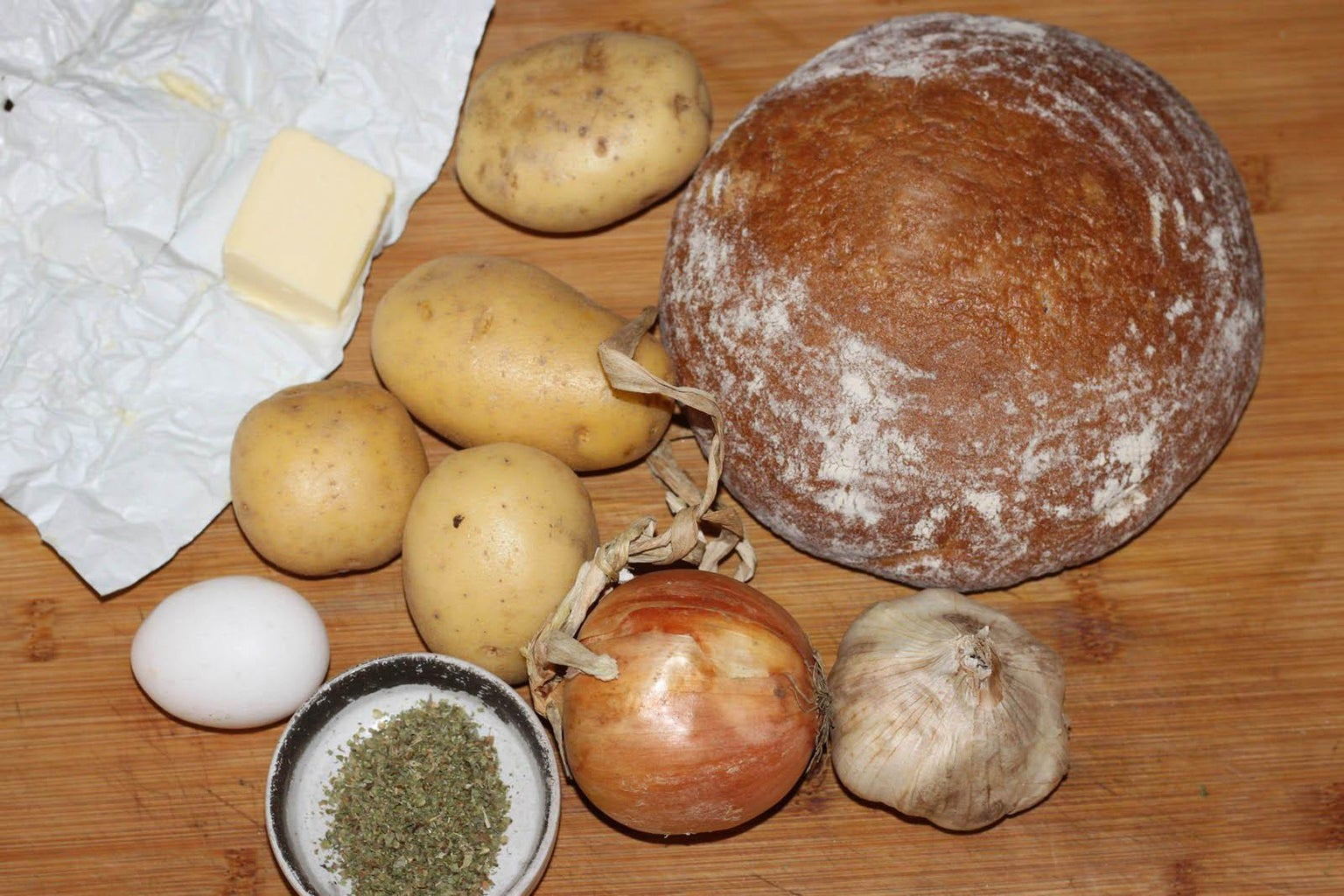 Traditional Czech Garlic Soup Served in Bread