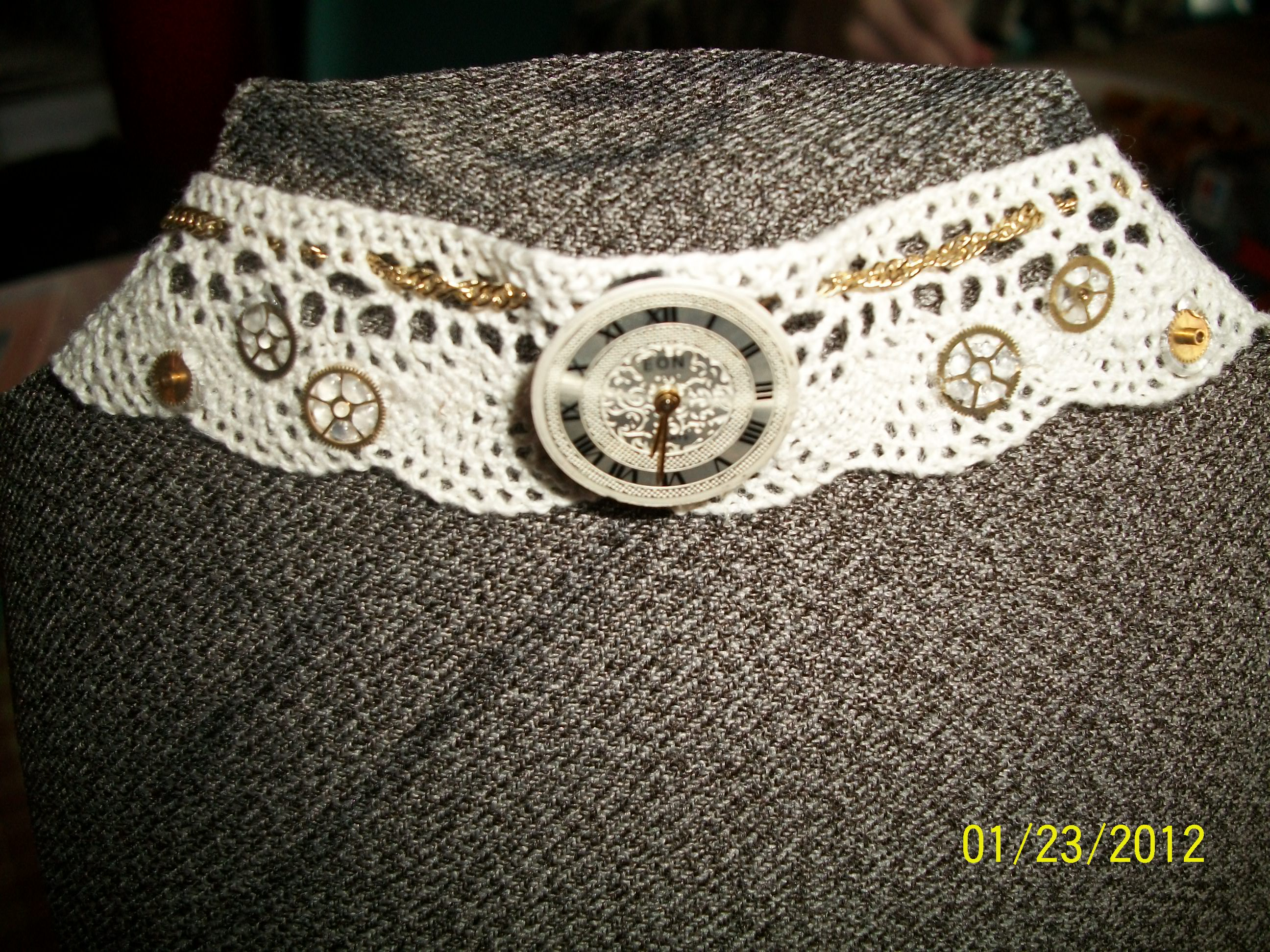 White Lace Steampunk Necklace