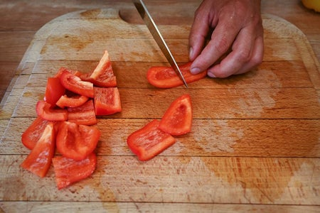 Prepare the Vegetables, Kielbasa and Bacon.