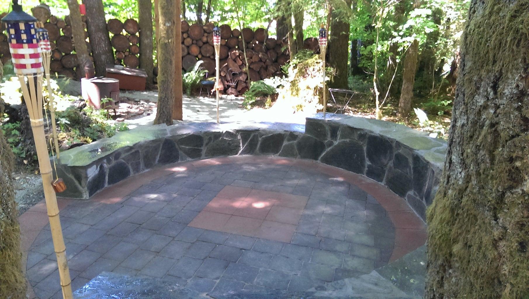 6. Mortar the Slate Stones to the Masonry Block Wall