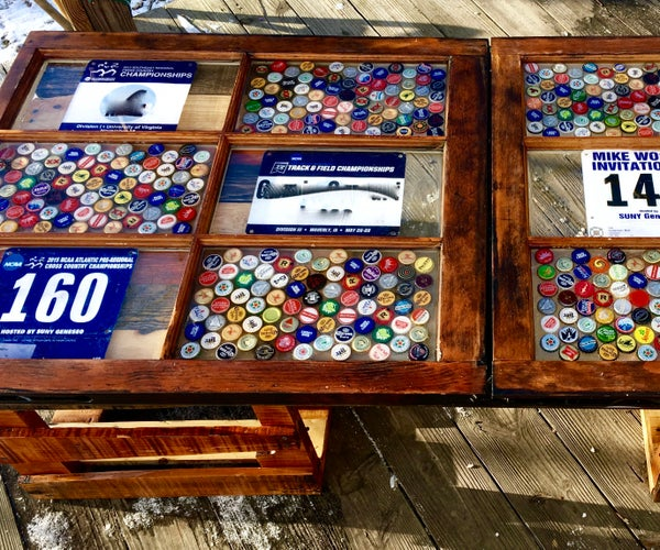 Pallet Wood Epoxy Covered Bottle Cap Coffee Table