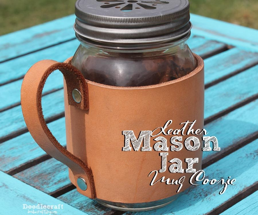Leather Mason Jar Mug Coozie!