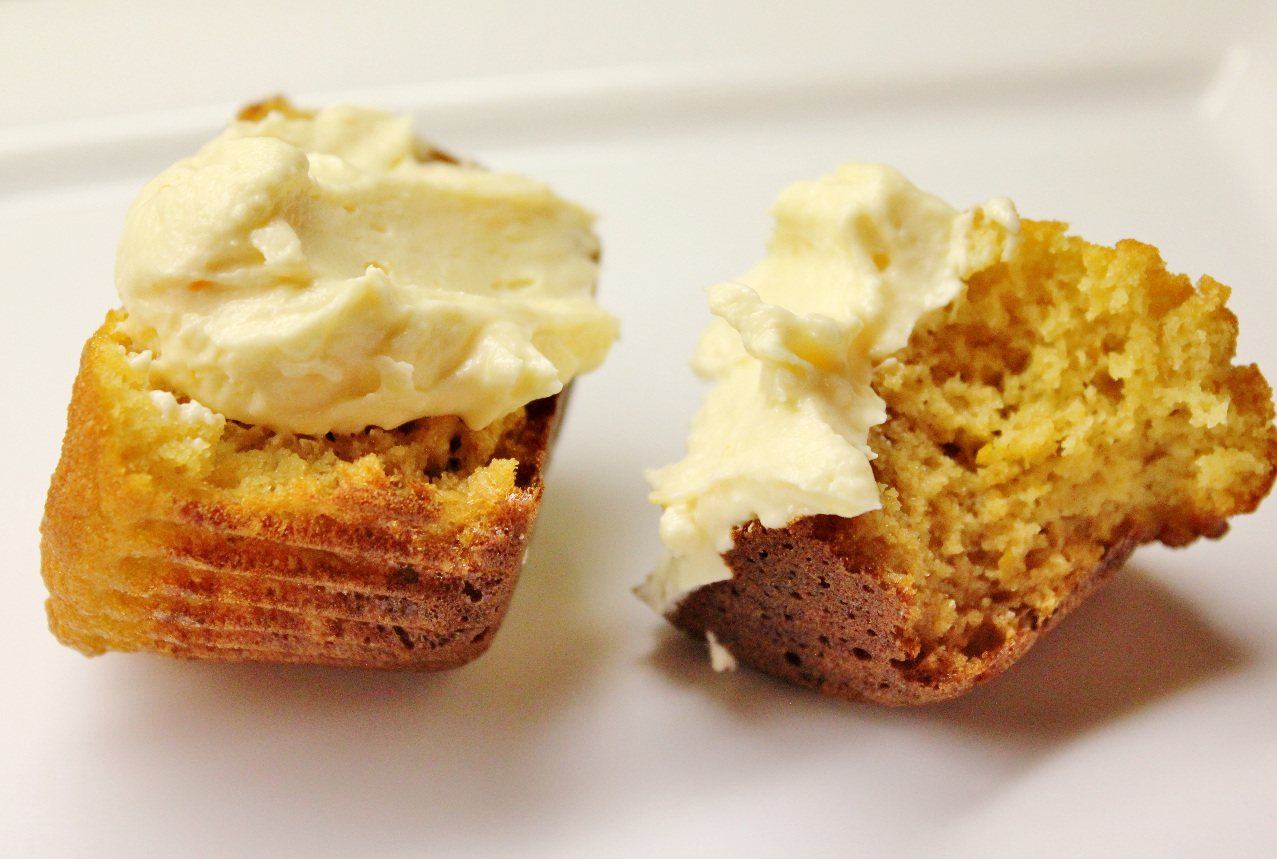 Orange Juice Muffins with Orange Honey Cream (gluten/grain/nut free)