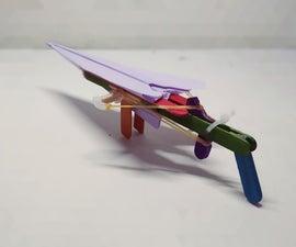 Rubber Band Powered Paper Airplane Gun