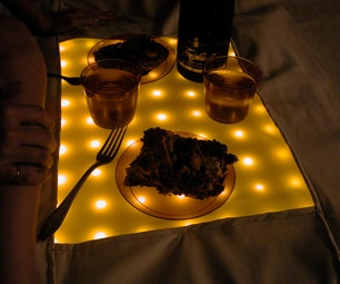 Portable Water Resistant LED Picnic Blanket With Hard Center Serving Surface!