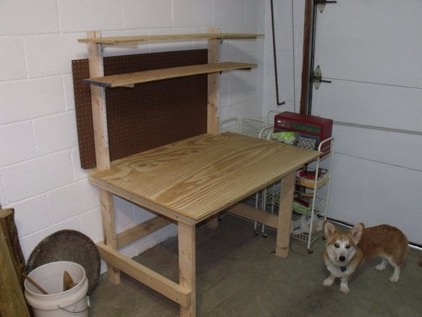 Build Garage Work Table With Attached Shelves