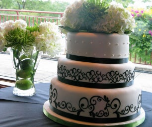 3-Tier Black & White Wedding Cake