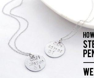 DIY Tutorial - DIY Tutorial - How to Make Sterling Silver Pendant As Wedding Gift(wedding Monogram Initial Disc)!