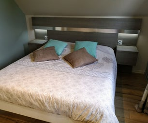 Headboard With Integrated Bedside Tables and Lighting