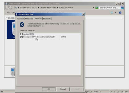 Pairing and Establishing a Serial Connection Between Windows 7 and SensoDuino