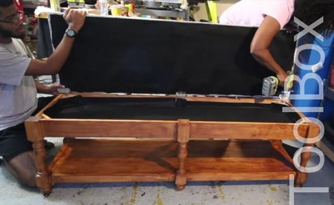 LINE THE INTERIOR OF THE BENCH & ATTACH THE BENCH TOP