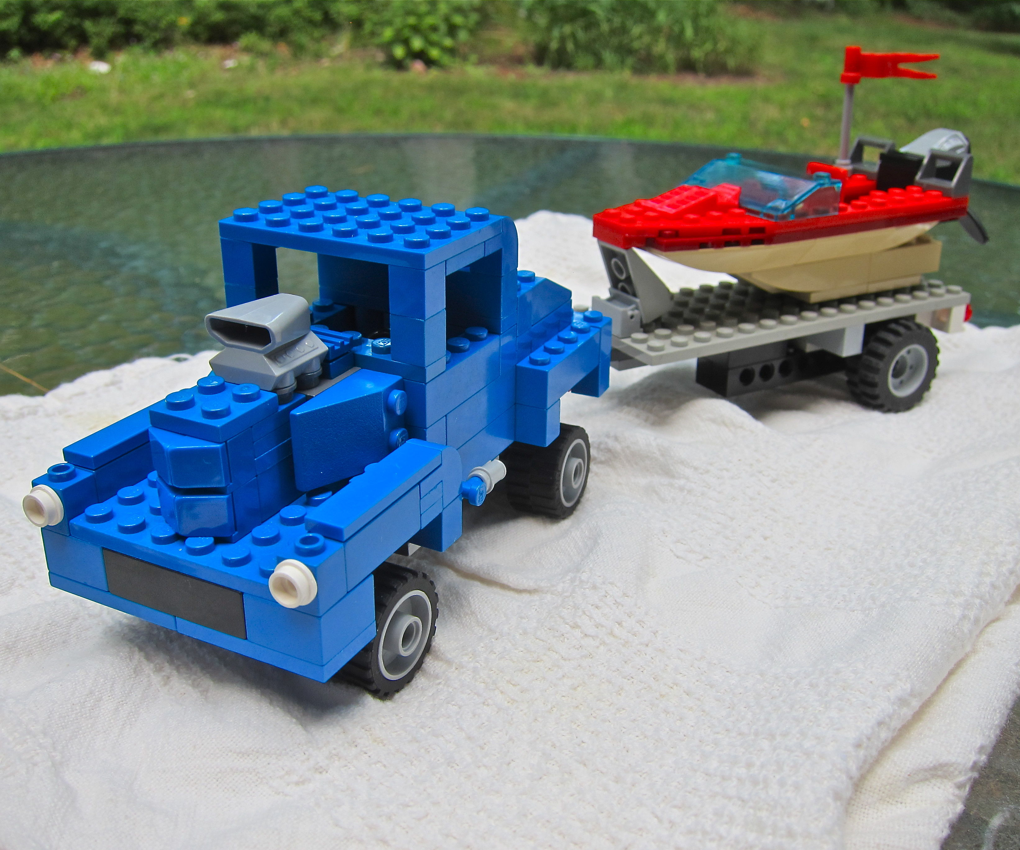 LEGO '40 Willys street rod with speed boat and trailer