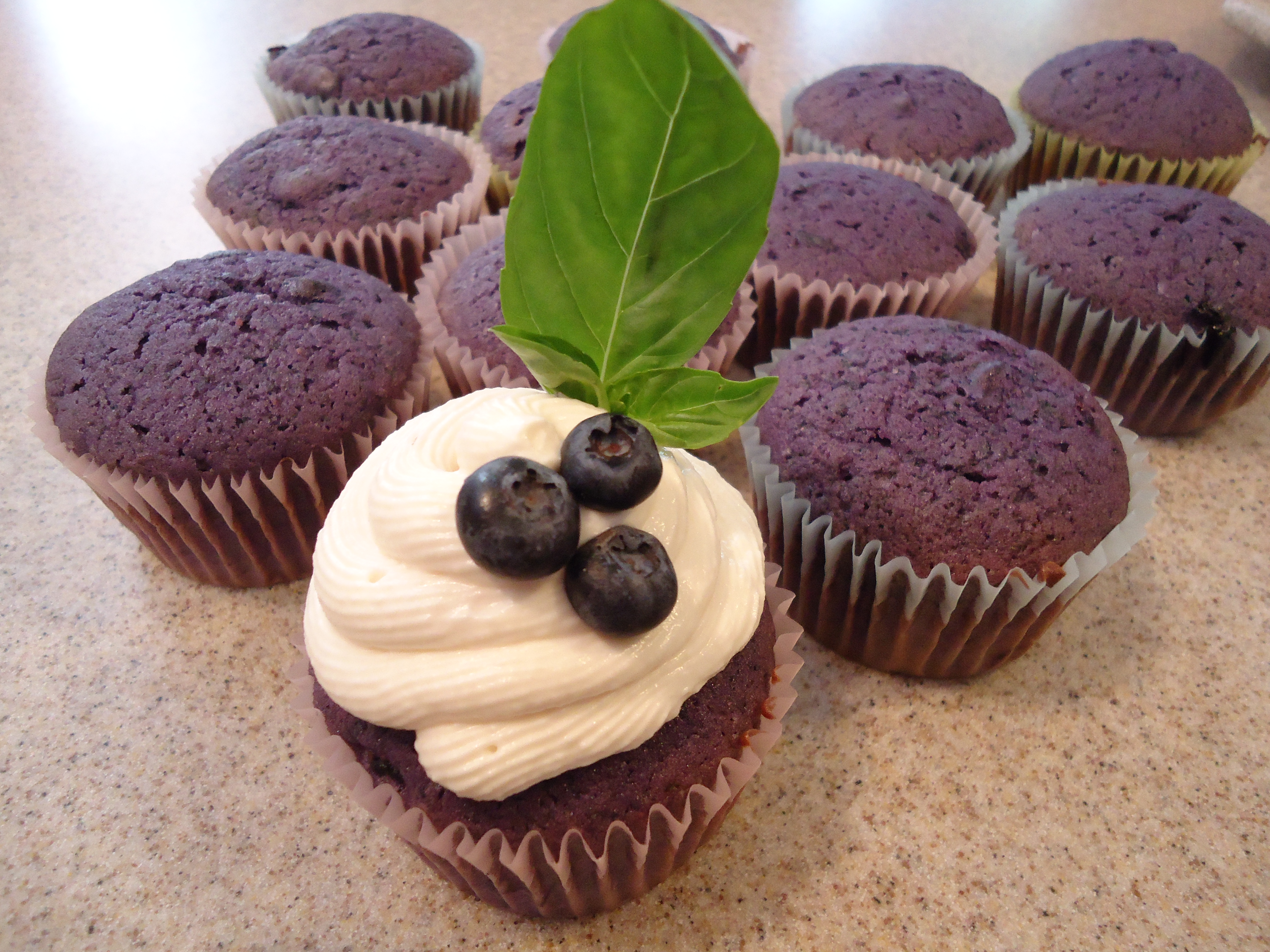 Roasted Blueberry Cupcake with Basil Infused Goat Cheese Frosting