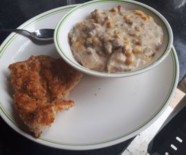 Dutch Oven, Chicken and Bacon Corn Chowder With Biscuits