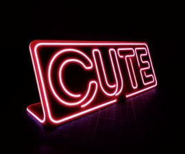 """Neon Sign 3D Printable """"CUTE"""" / """"BEER"""""""