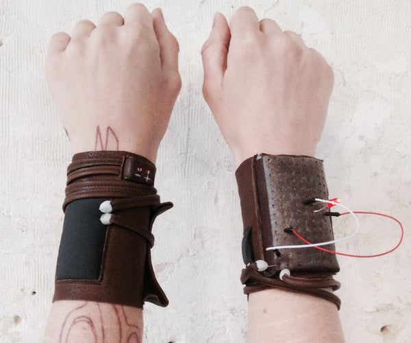 Leather ETextile Breadboard Bracelet and Continuity Tester