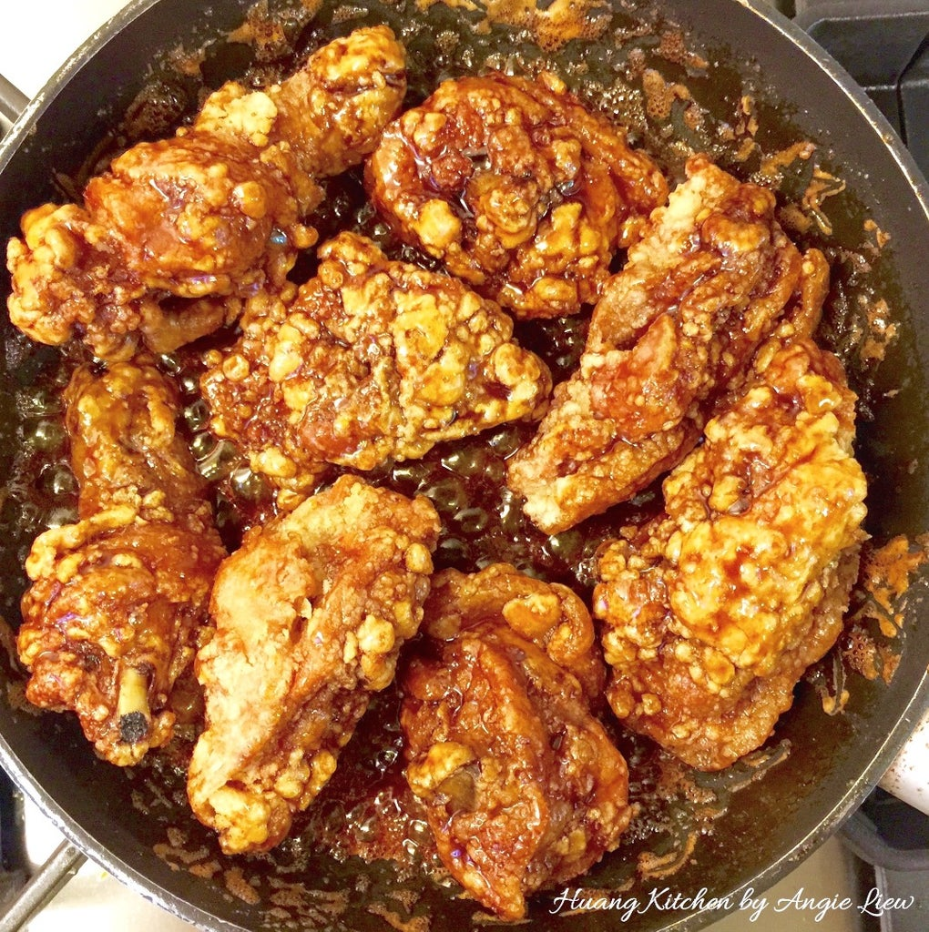 Stir Fry Until Sauce Dries Up and Toss Everything Together Until the Fried Chicken Are Evenly Coated in the Sauce.