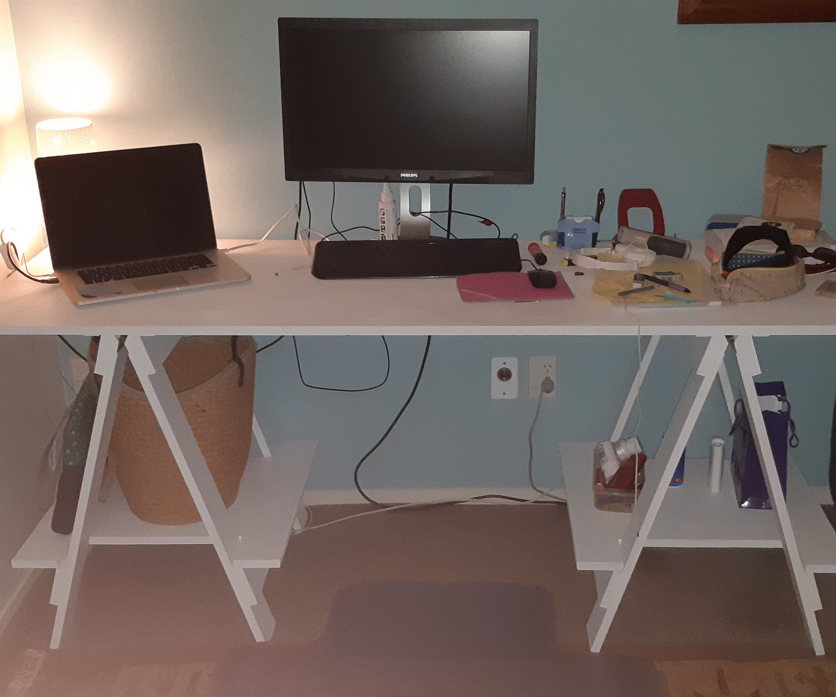 Simple Trestle Table and Shelves