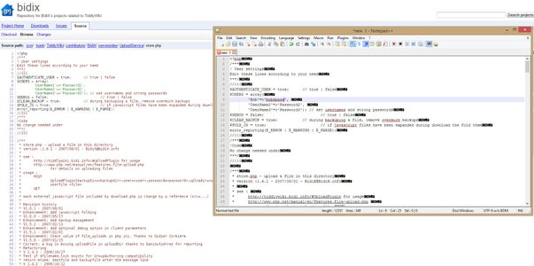 Using Text Editor Change BidiX Store.php User Names and Passwords