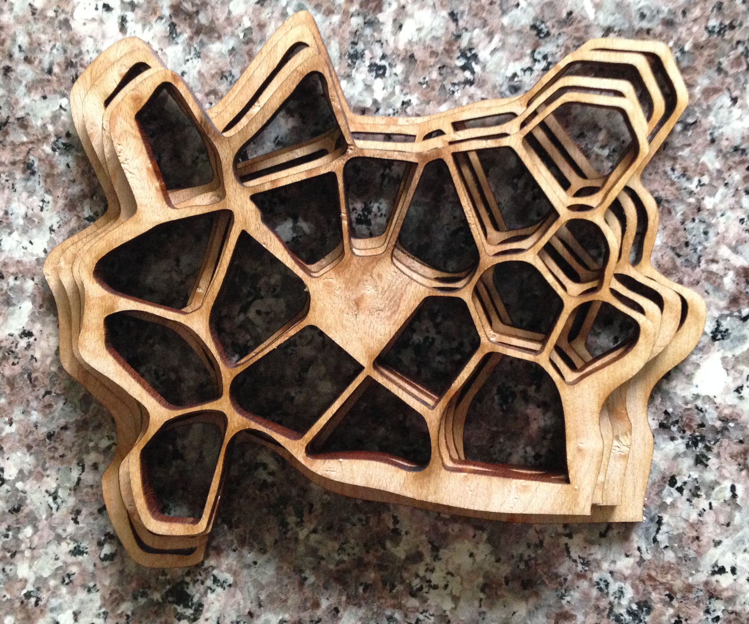 Cell-inspired wooden sculpture prototype