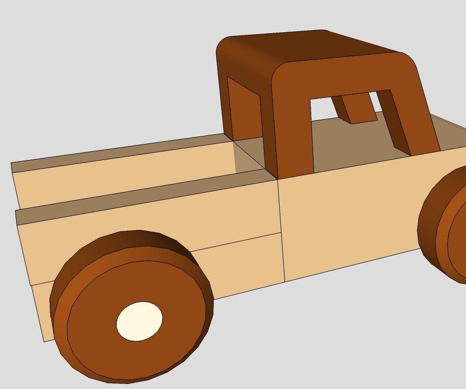 Minature Wood Toy Pickup Truck